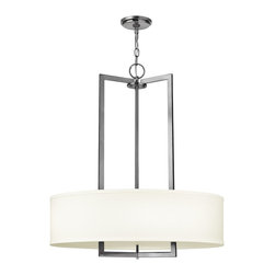 Hinkley Lighting - Hinkley Lighting Hampton Transitional Pendant Light X-NA4023 - Inspired by New York's most exclusive coastal getaway, the Hampton Transitional Pendant Light provides a taste of the beach without tracking in any sand. This light fixture features an Antique Nickel finish with an off-white linen hard-back shade. Ideal for individuals who want to get away from it all, without having to leaving the comfort of their home.