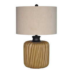 """Crestview - Crestview CVAUP906 Twistted Leaf Table Lamp - Twistted Leaf Table Lamp Twistted Leaf Table Lamp 29""""Ht.,Resin Tobaco Brown Finish 18*18*11.5 Natural Linen Shade Table Lamp 29"""" Ht"""