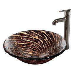 Vigo - Vigo Caramel Vessel Sink and Faucet Set, Oil Rubbed Bronze (VGT168) - Vigo VGT168 Caramel Vessel Sink and Faucet Set, Oil Rubbed Bronze