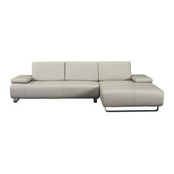 White Line Imports - Emotion Gray Sectional Sofa with Right Facing Chaise - Features: