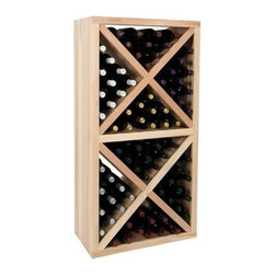 Wine Cellar Innovations - Vintner 4 ft. Solid Diamond Cube Wine Rack w Face Trim (Rustic Pine - Unstained) - Choose Wood Type and Stain: Rustic Pine - UnstainedBottle capacity: 78. Versatile wine racking. Custom and organized look. Can accommodate just about any ceiling height. Optional base platform: 23.19 in. W x 13.38 in. D x 3.81 in. H (5 lbs.). Wine rack: 23.19 in. W x 13.5 in. D x 47.19 in. H (6 lbs.). Vintner collection. Made in USA. Warranty. Assembly Instructions. Rack should be attached to a wall to prevent wobbleThe Vintner Series Solid Diamond Cube Wine Rack organizes wine bottles in an attractive, popular, and practical style. The decorative face trim adds to the sturdy appearance and finishing detail.. Rack should be attached to a wall to prevent wobble