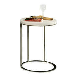 "Pastel Furniture - Pastel Furniture Metro High Gloss Wood Finish End Table in White - Pastel Furniture - End Tables - QLME4307955 - The Metro end table is a simple yet elegant design that can add that stylish and modern flair to your living area. This 18"" round end table comes in either black or white high gloss top with chrome base."
