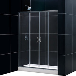 "DreamLine - DreamLine Visions Frameless Sliding Shower Door - This smart kit from DreamLine offers the perfect solution for a bathroom remodel or tub-to-shower conversion project with a VISIONS sliding shower door, universal shower backwall panels and a coordinating SlimLine shower base. The VISIONS shower door has two stationary glass panels and two sliding glass panels that open to create an ample center point of entry. The SlimLine shower base incorporates a low profile design for a sleek modern look, while the shower backwall panels have a tile pattern. Envision your shower space fresh and new with this complete shower kit from DreamLine. Items included: Visions Shower Door, 32 in. x 60 in. Single Threshold Shower Base and QWALL-5 Shower Backwall KitOverall kit dimensions: 32 in. D x 60 in. W x 76 3/4 in. HVisions Shower Door:,  56 - 60 in. W x 72 in. H ,  1/4 (6 mm) clear tempered glass,  Chrome or Brushed Nickel hardware finish,  Frameless glass design,  Width installation adjustability: 56 - 60 in.,  Out-of-plumb installation adjustability: Up to 1 in. per side,  Two sliding doors, flanked by two stationary panels,  Anodized aluminum wall profiles and guide rails,  Aluminum top and bottom guide rails may be shortened by cutting up to 4"",  Door opening: 22 - 26 in.,  Stationary panel: Two 12 3/4 in. panels ,  Material: Tempered Glass, Aluminum,  Tempered glass ANSI certified32 in. x 60 in. Single Threshold Shower Base:,  High quality scratch and stain resistant acrylic,  Slip-resistant textured floor for safe showering,  Integrated tile flange for easy installation and waterproofing,  Fiberglass reinforcement for durability,  cUPC certified,  Drain not included,  Center, right, left drain configurationsQWALL-5 Shower Backwall Kit:,  Color: White,  Assembly required,  Designed to be installed over existing finished surface (not directly against studs),  Includes 2 glass corner shelves,  Attractive tile pattern,  Unique water tight connection of panels,  Durable acrylic/ABS construction,  Trim-to-Size sidewall design,  Must be trimmed during installationProduct Warranty:,  Shower Door: Limited 5 (five) year manufacturer warranty ,  Shower Base: Limited lifetime manufacturer warranty,  Shower Backwalls: Limited 1 (one) year manufacturer warranty"