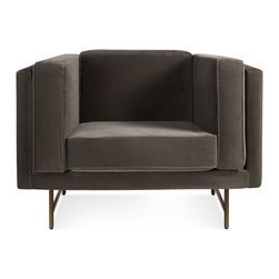 Blu Dot - Blu Dot Bank Lounge Chair, Mink Velvet - Brass - Stately proportions, piped cushions and a generous seat depth will have you holding court. Now in rich Mink Velvet. Choose either blackened metal or brass legs. Also available in classic upholstery.