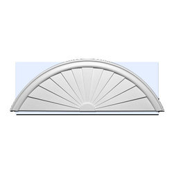 "Inviting Home - Sunburst Pediments (small) - entrance pediment 55-7/8""L x 18-3/4""H x 2""D Door pediment is made of high density polyurethane. This material is extremely durable and perfect for exterior application. It is tough dimensionally stable light weight and easy to install using common woodworking tools and adhesive. Adding pediments to your home entrance will enhance any new construction renovation or decoration project making a distinctive impression. Each entrance door pediment is reproduced from classic historical designs. Door pediment come primed white ready for painting."