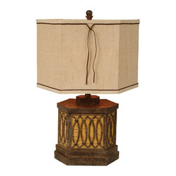 "Birch Box Table Lamp - A Black Forest Decor Exclusive - Graceful faux twig designs adorn the hexagonal resin Birch Box Table Lamp in a two-tone birch wood finish with a tan linen shade. Uses one 3-way 100-watt max bulb. Measures 17""W x 17""D x 26""H. ~"