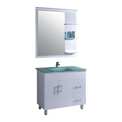 """Legion Furniture - 35.5 Inch Modern  Single Sink Bathroom Vanity - This 35.5 inch modern single sink bathroom vanity is a perfect center piece for your bathroom project.  This White bathroom vanity features 2 doors, 2 drawers and a tempered glass top with integrated sink that is pre-drilled for a standard 4 inch single slot faucet (faucet not included). Large opening in back for easy plumbing installation.  Dimensions: 35.5""""W X 20.5""""D X 31.5""""H (Tolerance: +/- 1/4""""); Counter Top: Tempered Glass with Integrated Sink (15""""W x 11""""D x 4.5""""); Finish: White; Features: 2 Doors, 2 Drawers; Hardware: Brushed Nickel; Sink(s): Tempered Glass; Faucet: Pre-Drilled for Standard Single Hole Faucet (Not Included); Assembly: Light Assembly Required; Large cut out in back for plumbing; Included: Cabinet, Sink, Mirror (22.5""""W X 27.5""""H); Not Included: Faucet, Backsplash."""