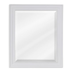 Hardware Resources - Hardware Resources MIR094 Wood Mirror - 20 in  x 24 in  White mirror with beveled glass