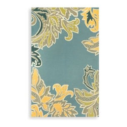 Trans-ocean - Trans-Ocean Ornamental Leaf Border Indoor/Outdoor Rug in Water - Bring sophistication to any room with the Trans-Ocean area rug with an ornamental leaf border and water theme. Designed by Liora Manne, this rug brightens up your living room, dining room, patio or bedroom.