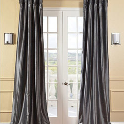 Half Price Drapes - Graphite Faux Silk Taffeta Single Panel Curtain, 50 X 120 - - Defined by a unique sheen and fine weave, our exclusive faux silk taffeta curtain panels are gorgeous and timeless. They have a crisp smooth finish in brilliant shimmering colors. Color is a medium silver grey.   - Single Panel   - 3 Rod Pocket   - Corner Weighted Hem   - Pole Pocket with Back Tab & Hook Belt Attached. Can be hung using rings. (Not Included)   - Dry clean   - Taffeta 53% Polyester & 47% Nylon   - Lined with a cotton blend material  - 50x120   - Imported   - Grey Half Price Drapes - PTCH-JTSP005-120