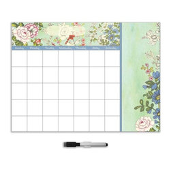 "Brewster Home Fashions - Vintage Bazaar Calendar Decal with Notes - This bohemian and chic dry-erase calendar and message board set adds a poetic vintage floral with a mod pop of color to your room. You will delight in staying organized all month and making special notes on this lovely dry-erase decal. The peel & stick Vintage Bazaar decal is 13"" x 17.75"" and includes a dry-erase marker."