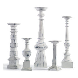 """Grandin Road - Set of Five White Whiter Candlesticks - Display on a dining table, bookcase, or mantel. Five designs per set. Range in size from 10-3/4"""" to 24"""" tall. Fit any taper candle or up to a 3"""" pillar candle (not included). Crafted from durable polyresin and stone powder. Distinctive White Dover Candlesticks are perfect for springtime and are finished to resemble antiqued white-painted wood. They're so versatile that you'll use them year round. Graduated sizes and individual design of each candlestick create a classically vintage aesthetic.  .  .  . Fit any taper candleor up to a 3"""" pillar candle (not included) .  . Vintage, distressed white-painted finish resembles gracefully aged wood ."""