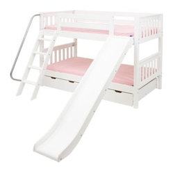 Laugh Twin over Twin Slat Slide Bunk Bed