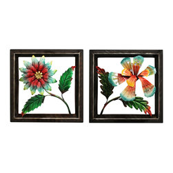 ecWorld - Urban Designs Handcrafted 2-Piece Set Artisan Metal Wall Art - Paradise Flowers - For a twist on floral decor, add this metal wall art set to a room.  A handcrafted array of flowers with colorful finishes and an oil-rubbed bronze finish frame. This wall art arrives ready to hang