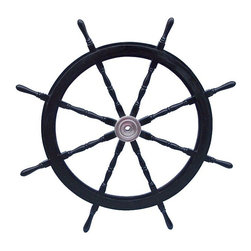 Handcrafted Nautical Decor - Deluxe Class Wood and Chrome Pirate Ship Steering Wheel 72'' - The Deluxe Class Wood and Chrome Pirate Ship Steering Wheel 72'' is the perfect   nautical wall hanging for your home. Our          solid wood ship wheels have been a fan favorite for some   time     now   and are available in a variety of colors. In addition, they are          hand-sanded with additional coats of  lacquer which give this        decorative   ship wheel a slight gloss which  makes this a perfect   pirate decor  accent  for your home, boat or  office.    --Made from rare, high quality Shisham          wood which is hard, strong and is highly regarded for its  ability    to      resist the elements.  The decorative wooden ship  wheel has  eight     spokes,    each skillfully turned and assembled  with plugged  screw     heads. The  center hubs are painted a whitewash  color and have  uniform     sizes holes and machined keyways.  ----The overall dimensions of this ship          steering wheel (including the spokes) are 72'' Long x 72'' High.    The        interior diameter of this boat steering wheel (excluding the     spokes)  is 47.5'' Long x 47.5'' High.----NOTE:  This wooden ship wheel is for decor purposes only and is not indented for use on a seafaring vessel.--Dimensions: 72'Long x 4'' Wide x 72'' High------    Highest quality wooden ship wheel available--    Shisham wood is hand-painted black with a chrome center hub--    --    Hand-sanded with extra coats of laquer for a slight gloss--    Heavy, sturdy and durable - weighs over 55 pounds--    --