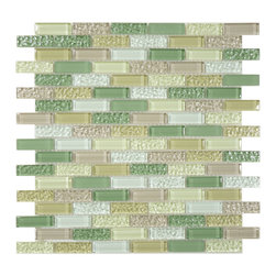 Euro Glass - Honey Dew Uniform Brick Green Crystile Blends Glossy and Frosted Glass - Our Crystile Series offers a wide range of hues to suit your mood and your style! The vibrancy and depth of our crisp smooth glass results in a unique and dramatic effect for use in both residential and commercial installations. The Crystile Series is virtually limitless in its range of applications and is suitable for the following walls backsplashes and any area just waiting to be transformed by light and color! Our sheets of mesh-mounted glass can be used to produce and endless variety of field patterns borders and medallions. This Series is ideal for use alone or as an exquisite complement to ceramic and natural stone materials. Let creativity be your guide. Crystile tiles are easy to clean and maintain. Our tiles will never discolor and will continue to provide a smooth and luxurious appearance for many years to come.