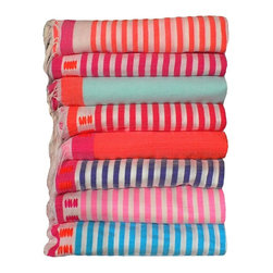 Handwoven Bedspread or Tablecloth from Kira-Cph - I love these bright and colorful North African towels. They can be used as tablecloths, throws or beach towels. Their versatility makes them so appealing!