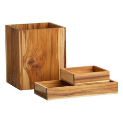 teak bath accessories - clean and simple. Spare solid teak stacking boxes and wastecan naturally neatens bath, bedroom, office.- Solid teak- Natural and oil finish- Naturally occurring texture and knots- Made in Laos- See dimensions below