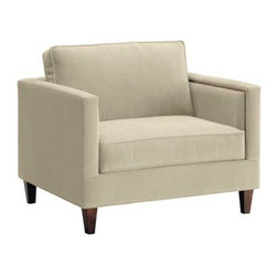 Apt2B - Anderson King Chair, Buckwheat - Like America's favorite news personality, the Anderson is clean cut and straightforward at first, but once you get to know it a little better, it has a pretty snappy personality. Dress this one up any way you like too- throw a pillow on this bad boy for a really special look! Each piece is expertly handmade to order in the USA and takes around 2-3 weeks in production. Features a solid hardwood frame and upholstered in a stain resistant smooth microfiber fabric.