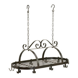 """Koehler Home Decor - Koehler Home Decor Hanging Pot Holder - Wrought iron kitchen hanging pot rack features 10 pot hooks and 21"""" hanging chains. Dimensions: 31 5/16"""" x 15 7/8"""" x 11 13/16. Max Weight: 9 KGS. otal rack shipping weight: 16 lbs. Dimensions: 31.31""""x 15.87""""x 11.81. Maximum Weight: 9 KGS."""