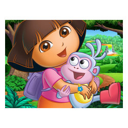 Oriental Furniture - Dora and Boots Wall Art - It's Dora the Explorer with her beloved companion Boots! Authorized limited edition print of the original, cartoon graphic art image, reproduced with modern giclee print technology on professionally stretched art quality canvas. Ready to be hung in your playroom or child's room right out the box.