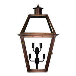 "Primo Lanterns - Primo Lanterns PL-27E St. Ann 27"" Outdoor Wall-Mounted Lantern in Electric Confi - Primo Lanterns PL-27E St. Ann 27"" Outdoor Wall-Mounted Lantern in Electric Configuration, with Five-Light ClusterAdd Southern Charm and character to any outdoor area with an electric wall lantern from Primo Lanterns. Hand made from pure copper, these lanterns are antique-finished and clear-coated for a breathtaking appearance. The candelabra bulb cluster will illuminate any area with a relaxing warm glow, while allowing for an easier installation than Primo Lanterns gas burning models.Primo Lanterns PL-27E Features:"