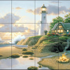 The Tile Mural Store (USA) - Tile Mural - Cottage By The Sea - Kitchen Backsplash Ideas - This beautiful artwork by Richard Burns has been digitally reproduced for tiles and depicts a nice lighthouse and cottage.  Our lighthouse tile murals and nautical themed decorative tiles are perfect as part of your kitchen backsplash tile project or your tub and shower surround bathroom tile project. Lighthouse images on tiles add a unique element to your tiling project and are a great kitchen backsplash idea. Use a lighthouse scene tile mural for a wall tile project in any room in your home where you want to add interest to a plain field of wall tile.