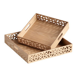 Cyan Design - Cyan Design Square Xoxo Trays - Pack of 2 X-42250 - From the XOXO Collection, this package of Two Cyan Design square trays are designed to nest for a visually appealing look. The trays feature decorative filigree patterning on opposite sides, with solid framing and handles to compliment the look. Ash Veneer finishing adds light, versatile appeal.