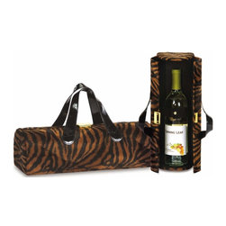 "Picnic Plus - Carlotta Clutch Wine Bottle Clutch, Brown Tiger - Picnic Plus Carlotta Clutch Wine Bottle Tote, Brown Tiger. Color/Design: Brown Tiger; Stylish wine bottle purse design; Soft sueded lined with an elastic inside pocket to hold keys, ID and more; Carlotta Clutch securely holds 1 bottle with the elastic inside strap. Dimensions: 14""W x 4 1/2""D x 4 1/2""H"