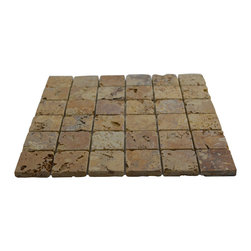 "2"" x 2"" Gold / Yellow Tumbled Mesh-Mounted Travertine Mosaic Tiles - 2"" x 2"" Gold / Yellow Mesh-Mounted Travertine Mosaic Tile is a great way to enhance your decor with a traditional aesthetic touch. This Tumbled Mosaic Tile is constructed from durable, impervious Travertine material, comes in a smooth, unglazed finish and is suitable for installation on floors, walls and countertops in commercial and residential spaces such as bathrooms and kitchens."