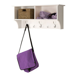"Prepac Furniture - Prepac White 36"" Wide Hanging Entryway Shelf - Keep your gloves, hats, coats and jackets organized with the Prepac White 36"" Wide Hanging Entryway Shelf! Suitable for front hallway, entries or home office, its two compartments have space for everything from baskets to books. Three large hooks provide storage for your outerwear. Two smaller hooks are ideal for scarves, purses and bags. Install it easily with our innovative hanging rail system."
