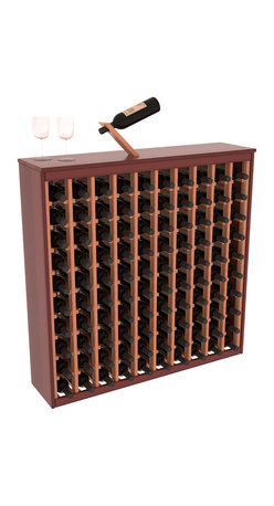 Two Tone 100 Bottle Deluxe Wine Rack in Redwood with Cherry/Natural Stain - Styled to appear as wine rack furniture, this wooden wine rack will match existing decor while storing 100 bottles of wine. Designed to look like a freestanding wine cabinet, the solid top and sides promote the cool and dark storage area necessary for aging wine properly. Your satisfaction and our racks are guaranteed.  All Two-Tone racks include a professional grade eco-friendly satin finish and come with a free matching magic bottle balancer.