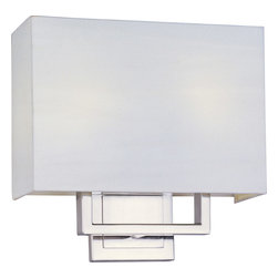 ET2 Lighting - Edinburgh II 2-Light Rectangular Wall Sconce - This smart-looking sconce has a degree in modern minimalism — clean-cut geometric shapes and artfully subtle materials. The white-linen rectangular shade melts like snow against the background wall, until you turn on the light and the warm, soft glow highlights those sharp lines and angles. The satin nickel base adds a clean brightness.