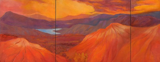 'Endless Lands II' Giclée Print - Find tranquility in the midst of your day with this powerful signed, limited-edition Lynne Friedman landscape. Mountains bathed in fiery poppy red surround a tranquil blue lake, miraculously calm in the face of a blazing sunset. The captivating view makes this print visual oasis on the wall of your living room, bedroom or office.