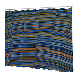 Uneekee - Uneekee Prism Blue Shower Curtain - Your shower will start singing to you and thanking you for such a glorious burst of design as you start your day!  Full printing on the front and white on the back.  Buttonhole openings for shower rings.