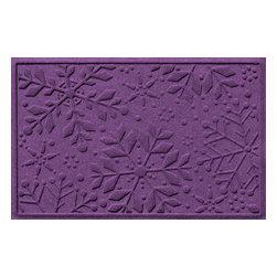 Bungalow Flooring - Aqua Shield 2'x3' Holiday Snowflake Doormat, Purple - Premium 24-oz. anti-static polypropylene mat traps dirt, water and mud.