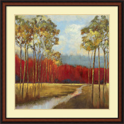 Amanti Art - Asia Jensen 'In the Horizon II' Framed Art Print 35 x 35-inch - This stunning art print will infuse your walls with warmth. In shades of orange, burnt umber and blue, this landscape celebrates the glorious colors of a changing season.