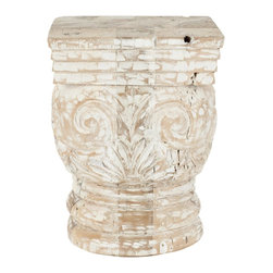 Safavieh - Pecos Stool - Inspired by the architectural artifacts used as accessories in luxury homes, the Pecos stool is beautifully carved with classical motifs from a mix of woods recycled from old houses. With whitewashed finish over natural-toned wood, this interesting piece adds old world character as a side table or stool.