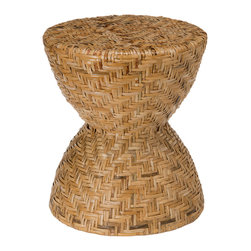 KOUBOO - Hourglass Rattan Stool - Diameter 16 inches x 18 inches high.