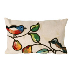 "Trans-Ocean - 12""x20"" Visions III Song Birds Cream Pillow - The highly detailed painterly effect is achieved by Liora Mannes patented Lamontage process which combines hand crafted art with cutting edge technology.These pillows are made with 100% polyester microfiber for an extra soft hand, and a 100% Polyester Insert.Liora Manne's pillows are suitable for Indoors or Outdoors, are antimicrobial, have a removable cover with a zipper closure for easy-care, and are handwashable. Made in USA."