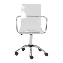 Eurostyle - Chloe Office Chair-Clear/Chrome - This crisp white office chair allows you to add a little gloss to your workspace. Featuring an eye-catching base with angled feet and sturdy casters, you'll roll around with glee.
