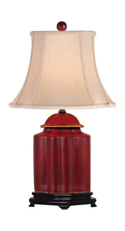 """Lamps Plus - Asian Red Lacquer Scallop Tea Jar Table Lamp - This sophisticated table lamp looks great in a living room or bedroom and is perfect for traditional or Asian-themed decors. It features a scalloped tea jar base decorated with an exquisite red lacquer finish. A coffee color French oval shade sits on top. A three-way socket gives you more lighting control. Red lacquer finish. Coffee color French oval shade. Takes one 150 watt three-way bulb (not included). 23"""" high. Shade is 8 1/2"""" wide by 6 3/4"""" deep at the top. Shade is 14"""" wide by 12 1/4"""" deep at the bottom. Shade is 10 1/2"""" high.  Red lacquer finish.   Coffee color French oval shade.   Takes one 150 watt three-way bulb (not included).   23"""" high.   Shade is 8 1/2"""" wide by 6 3/4"""" deep at the top.   Shade is 14"""" wide by 12 1/4"""" deep at the bottom.   Shade is 10 1/2"""" high."""