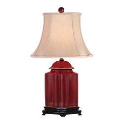 "Lamps Plus - Asian Red Lacquer Scallop Tea Jar Table Lamp - This sophisticated table lamp looks great in a living room or bedroom and is perfect for traditional or Asian-themed decors. It features a scalloped tea jar base decorated with an exquisite red lacquer finish. A coffee color French oval shade sits on top. A three-way socket gives you more lighting control. Red lacquer finish. Coffee color French oval shade. Takes one 150 watt three-way bulb (not included). 23"" high. Shade is 8 1/2"" wide by 6 3/4"" deep at the top. Shade is 14"" wide by 12 1/4"" deep at the bottom. Shade is 10 1/2"" high.  Red lacquer finish.   Coffee color French oval shade.   Takes one 150 watt three-way bulb (not included).   23"" high.   Shade is 8 1/2"" wide by 6 3/4"" deep at the top.   Shade is 14"" wide by 12 1/4"" deep at the bottom.   Shade is 10 1/2"" high."