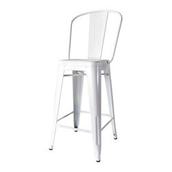 Kathy Kuo Home - Bouchon French Industrial White With Back Cafe Counter Stool - Set of 4 - This iconic industrial metal cafe counter stool, constructed of glossy white painted steel, captures the utility and flexible use that makes loft style so smart.  Used indoors or out, the classic lines and comfortable back evoke the breakrooms and old fashioned working man's bars from Paris to Pittsburgh.