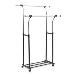 Richards Homewares, Inc. - Mobile Chrome Flared/Parallel Garment Rack - Mobile Chrome Flared/Parallel Garment Rack helps make sure items are evenly distributed. Tubular steel with heavy duty plastic wheels for easy mobility.