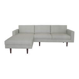 """bobby Berk Home - Brady Sofa W/Chaise, Bela Grey, 120"""" - With its mid century feel the Brady Collection is sophisticated yet restrained and would sit equally comfort- ably in rooms ranging from a living room to a dressing room to a foyer."""