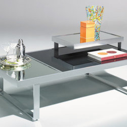 Johnston Casuals - Mondrian Coffee Table - The playful yet powerful combination of dark and light elements gives the appealing Mondrian Contemporary Coffee Table a style all its own. With its black glass table top, mirrored glass shelves, this contemporary coffee table is versatile enough to match any d cor. Individually hand-made in Johnston Casuals' USA factory, you can be sure this coffee table will provide years of lasting quality and aesthetic delight. This contemporary coffee table is sure to fit into any theme, but looks especially appealing as part of a coffee table set with the matching end tables, console table, and tag re! Features: -Individually hand-crafted in the USA.-Black glass table top.-Mirrored glass shelves.-Playful yet powerful contemporary design.-High quality powder-coat metal construction.-Johnston Casuals Mondrian collection.-Please note: This item is made to order. As such, orders cannot be cancelled after 15 days..-More customization options may be available for an additional charge. Also, please be aware that as each item is created individually, slight variations in finish and shape may occur..-Collection: Mondrian.-Distressed: No.-Country of Manufacture: United States.Dimensions: -Overall dimensions: 19'' H x 54'' W x 30'' D.-Overall Product Weight: 101 lbs.Warranty: -10-Year structural failure warranty on metal frame.