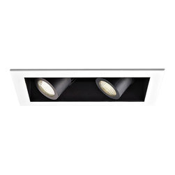 """WAC - WAC 20 Degree 2700K LED Recessed Housing Double Spot Light - Offer a smooth finished look to your ceilings with this 2700K LED recessed housing designed for new construction projects. A white finish trim surrounds the black housing which holds two dimmable spot lights with a 20 degree beam spread. For non-insulated ceilings. ENERGY STAR® rated. ETL and cETL listed. Compatible with WAC recessed lighting products. 4"""" WAC new construction double spot light recessed housing. 20 degree beam spread. 2700K color temperature; also available in 3000K. Includes two 16 watt LEDs. Light output is 1100 lumens per light. Comparable to two 75 watt MR16 bulbs. Bulbs average 50000 hours at 3 hours a day. 100 percent to 10 percent dimming. CRI is 85. 120 to 277 volts. ENERGY STAR® rated. For non-insulated ceilings. 19 5/8"""" wide. 6"""" high.  4"""" WAC new construction double spot light recessed housing.  20 degree beam spread.  2700K color temperature; also available in 3000K.  Includes two 16 watt LEDs.  Light output is 1100 lumens per light.  Comparable to two 75 watt MR16 bulbs.  Bulbs average 50000 hours at 3 hours a day.  100 percent to 10 percent dimming.  CRI is 85.  120 to 277 volts.  ENERGY STAR® rated.  For non-insulated ceilings.  19 5/8"""" wide.  6"""" high."""