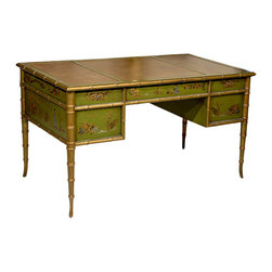 Faux Bamboo Chinoiserie Desk - This Faux Bamboo Chinoiserie Desk from the 1960s would be a wonderful focal point in a chinoiserie office.