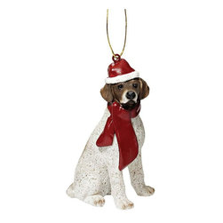 "EttansPalace - Pointer Holiday Dog Ornament Sculpture - With a festive Santa hat and red scarf, this adorable Pointer dog ornament has neither a ""bark"" nor a ""bite"" worth worrying over! Our Pointer dog ornament is realistically sculpted, cast in quality designer resin and hand painted for the ""discriminating dog lover"". The perfect canine gift for Pointer dog aficionados and a fun way to include your pets in holiday decorating! Approx. 2.5""W x 1.5""D x 3.5""H. .5 lb."
